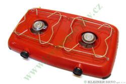 Vařič plynový 2-hořákový MEVA ORLÍK bez víka, přímotlaký 2319B, ČERVENÝ-Dvouho��kov� stoln� va�i� ( campingov� va�i� ) na propan-butan, barva b�ERVEN�/b