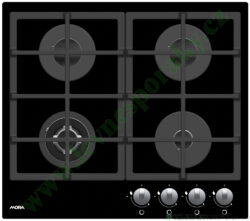 MORA VDP 645 GB1 PREMIUM - deska plynová, 4 hořáky, ČERNÉ SKLO+NEREZ RÁMEČEK-Plynová vestavná skleněná deska