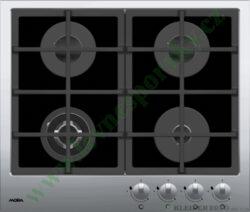 MORA VDP 645 GX1 PREMIUM - deska plynová, 4 hořáky, ČERNÉ SKLO+NEREZ-Plynová vestavná skleněná deska